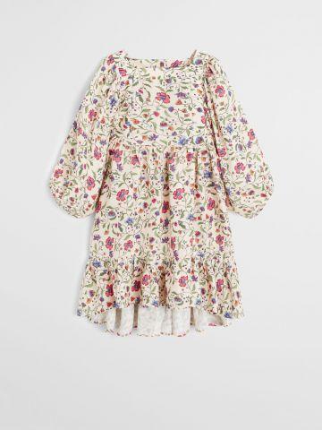 שמלה בהדפס פרחים עם שרוולים ארוכים / בנות