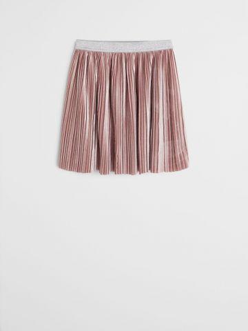 חצאית פליסה בטקסטורת קטיפה / בנות