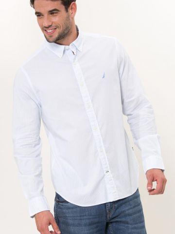 חולצת פסים מכופתרת עם לוגו Slim Fit / Stretch