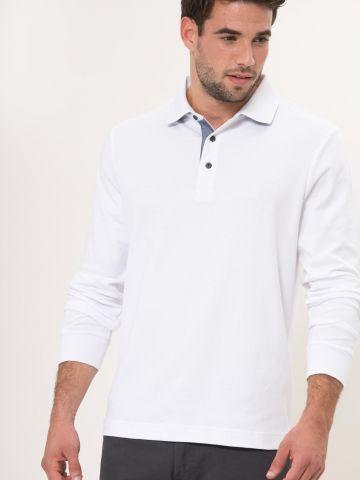 חולצת פולו שרוולים ארוכים עם לוגו