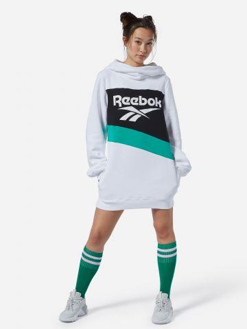 שמלת סווטשירט מיני עם הדפס לוגו