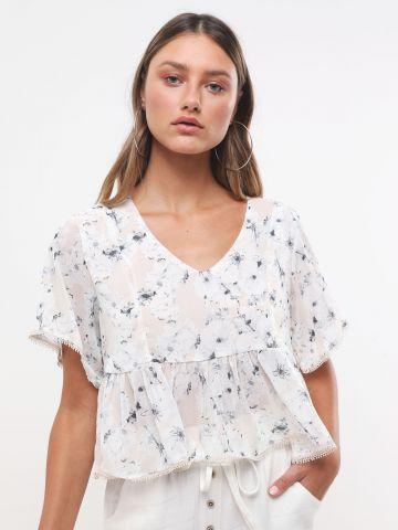 חולצת פפלום בהדפס פרחים עם עיטורי רקמה