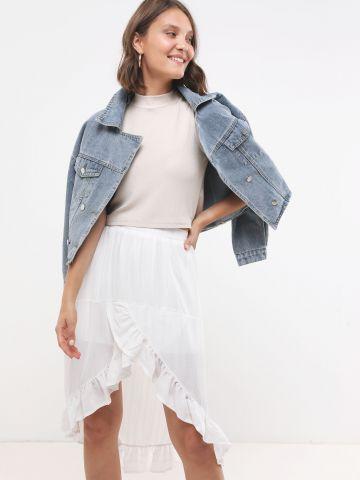 חצאית פפלום אסמיטרית בעיטור חוטים מטאליים