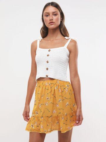 חצאית פפלום בהדפס פרחים עם עיטורי רקמה