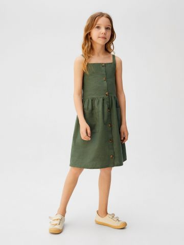 שמלת מיני עם כפתורים וכיסים