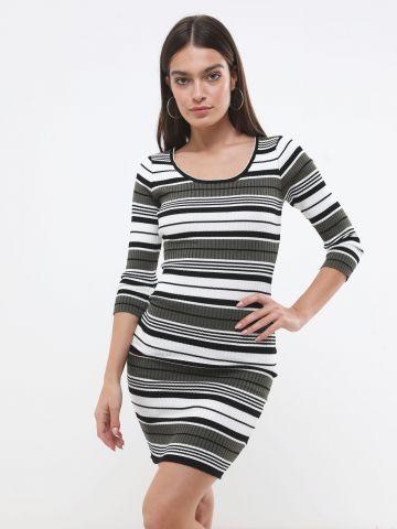 שמלת סריג מיני פסים