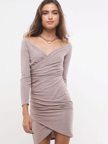 שמלת מיני ריב מעטפת עם שרוולים ארוכים