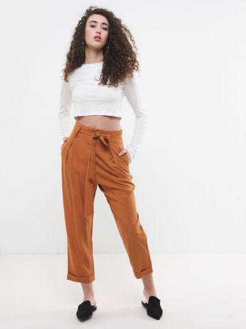 מכנסי פייפרבאג ארוכים עם חגורת קשירה