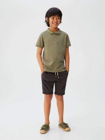 חולצת פולו בהדפס נקודות