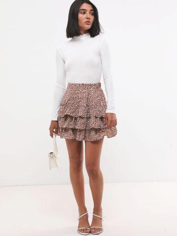 חצאית פפלום שכבות בהדפס חברבורות