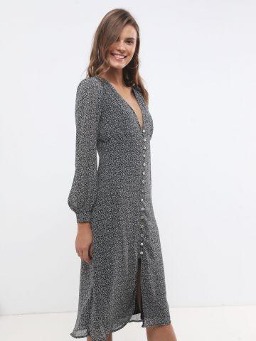 שמלת מידי פייזלי עם כפתורים ושרוולים ארוכים