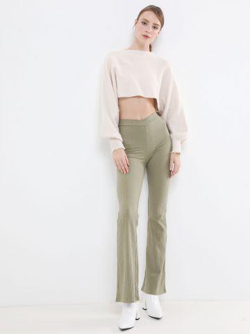 מכנסי ריב ארוכים עם סיומת מתרחבת