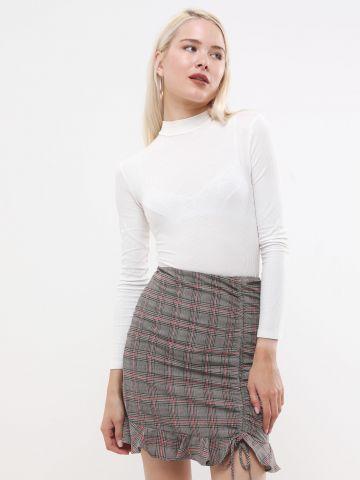 חצאית מיני משבצות עם שרוך כיווץ