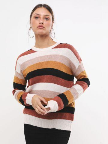 סוודר מולטי קולור בדוגמת פסים