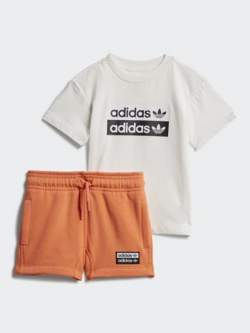 סט טי שירט ומכנסיים קצרים עם לוגו / 3M-4Y