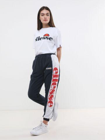 מכנסי טרנינג פליז עם פאנלים לוגו