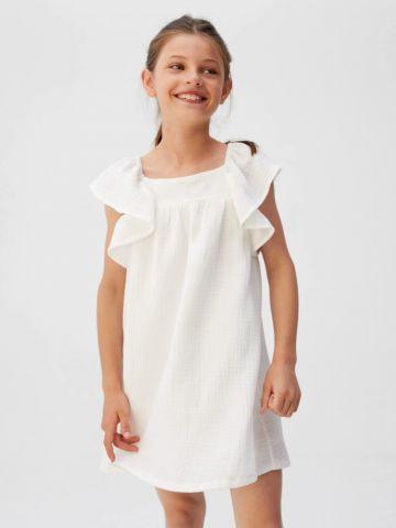 שמלת קרפ עם שרוולי מלמלה