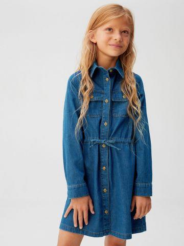 שמלת ג'ינס מכופתרת עם שרוולים ארוכים