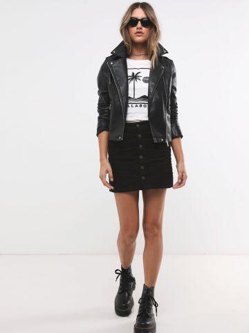 חצאית מיני קורדרוי עם כפתורים