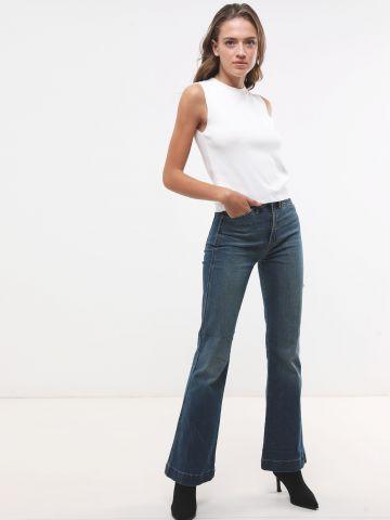 ג'ינס גבוה מתרחב בשטיפה כהה