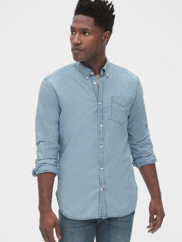 חולצת ג'ינס מכופתרת עם כיס