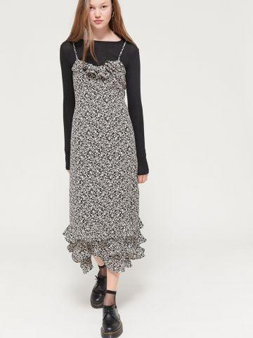 שמלת פשתן מידי בהדפס פרחים עם עיטורי מלמלה UO