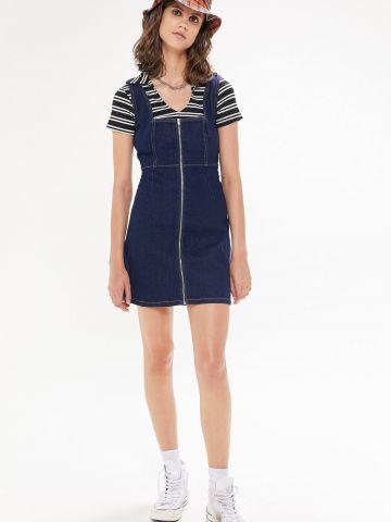 שמלת מיני ג'ינס עם רוכסן UO