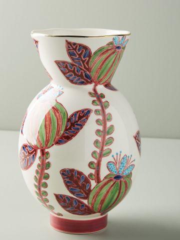 אגרטל חרס עם עיטורי פרחים בעבודת יד \ בינוני