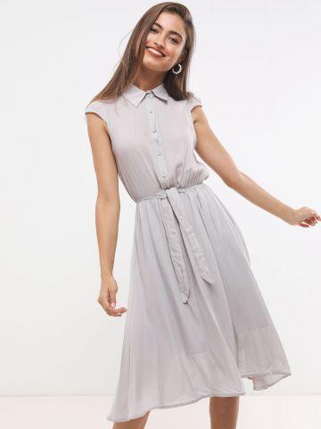 שמלת מידי בדוגמת נקודות עם כפתורים וקשירה