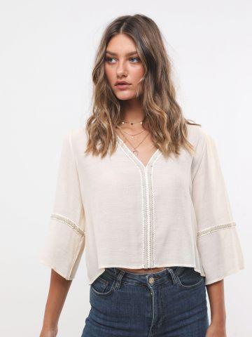 חולצת קרופ עם עיטורי רקמה מטאליים