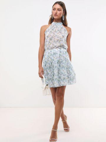 חצאית מיני בהדפס פרחים עם חגורת קשירה