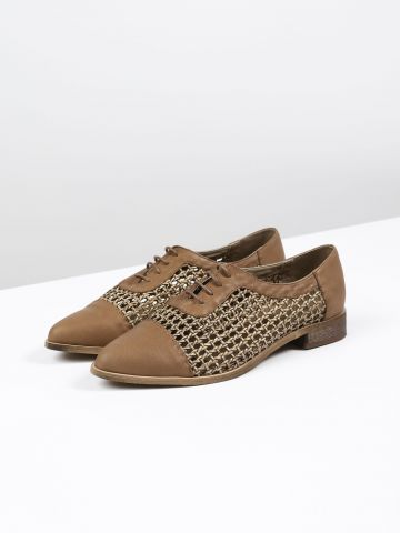 נעלי אוקספורד עור קלועות / נשים