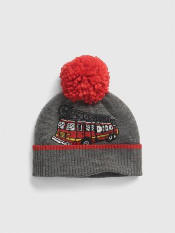 כובע גרב עם פונפון / בייבי בנים