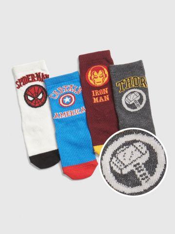 מארז 4 זוגות גרביים בהדפסים שונים Marvel / בייבי בנים