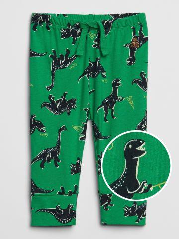 מכנסיים ארוכים בהדפס דינוזאורים עם גומי במותן / 0-24M