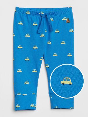 מכנסיים ארוכים בהדפס מכוניות עם גומי במותן / 0-24M