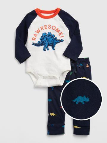 סט בגד גוף ומכנסיים ארוכים בהדפס דינוזאורים / 0-24M