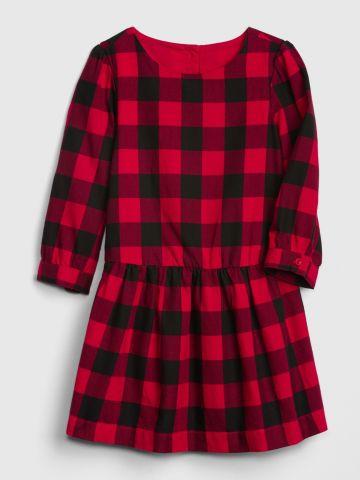 שמלה בהדפס משבצות עם שרוולים ארוכים / 12M-5Y