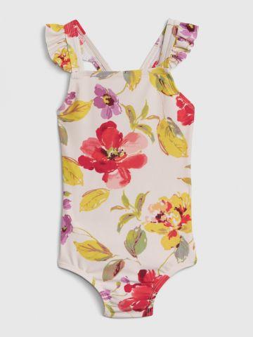 בגד ים בהדפס פרחים עם מלמלה / 12M-5Y