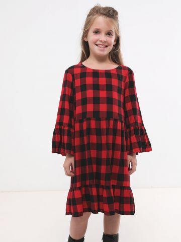 שמלה בהדפס משבצות עם פפלום