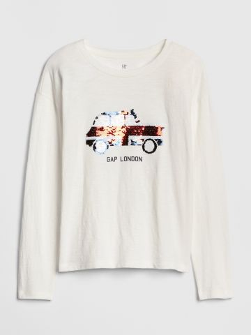 טי שירט לוגו שרוולים ארוכים עם פאייטים מתחלפים בדוגמת מכונית / בנות