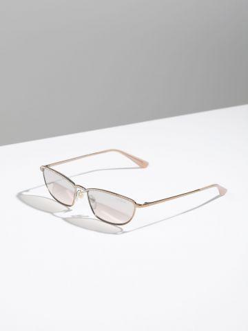 משקפי שמש מלבניים בעיטור אבנים נוצצות Gigi Hadid X