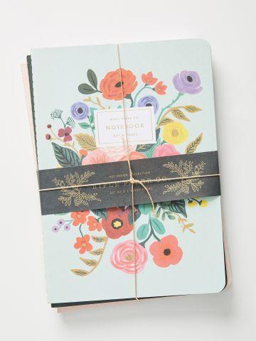 סט 3 מחברות אישיות בהדפס פרחים Rifle Paper Co.