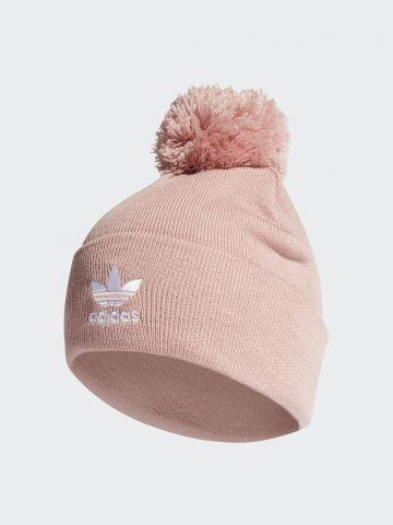 כובע גרב לוגו סרוג עם פונפון / נשים