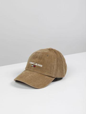 כובע מצחייה קורדורוי עם רקמת לוגו