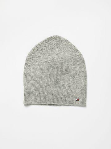 כובע גרב בשילוב צמר עם לוגו / נשים