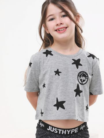 טי שירט קרופ בהדפס כוכבים עם פאץ' לוגו