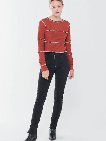 ג'ינס סקיני בגזרה גבוהה עם תפרים מודגשים BDG