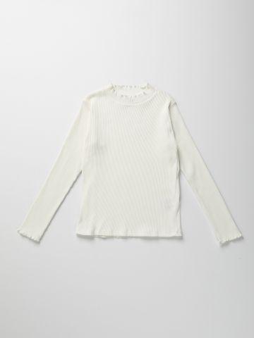 חולצת ריב עם שוליים גליים / בנות