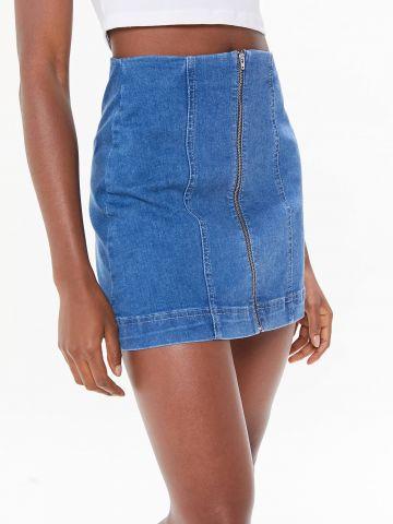 חצאית ג'ינס מיני בגזרה גבוהה עם רוכסן BDG